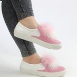 önü püsküllü pembe babet ayakkabı modeli