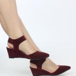 dolgu topuklu süet bordo yazlık genç kız ayakkabıları