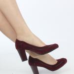 en güzel kalın topuklu süet borda bayan ayakkabıları
