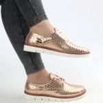 spor altın rengi parlak simli bayan ayakkabı