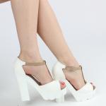yüksek kalın topuklu beyaz kadın ayakkabısı satın al